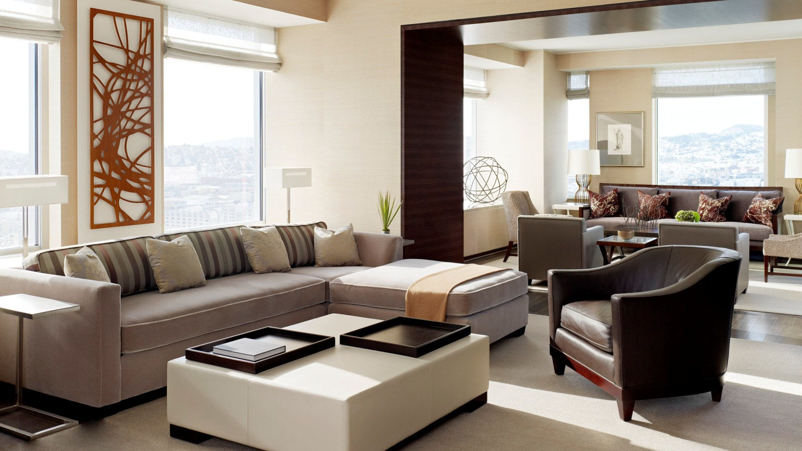 A luxurious sofa and two chairs as part of the spacious Presidential Suite available at The St. Regis San Francisco