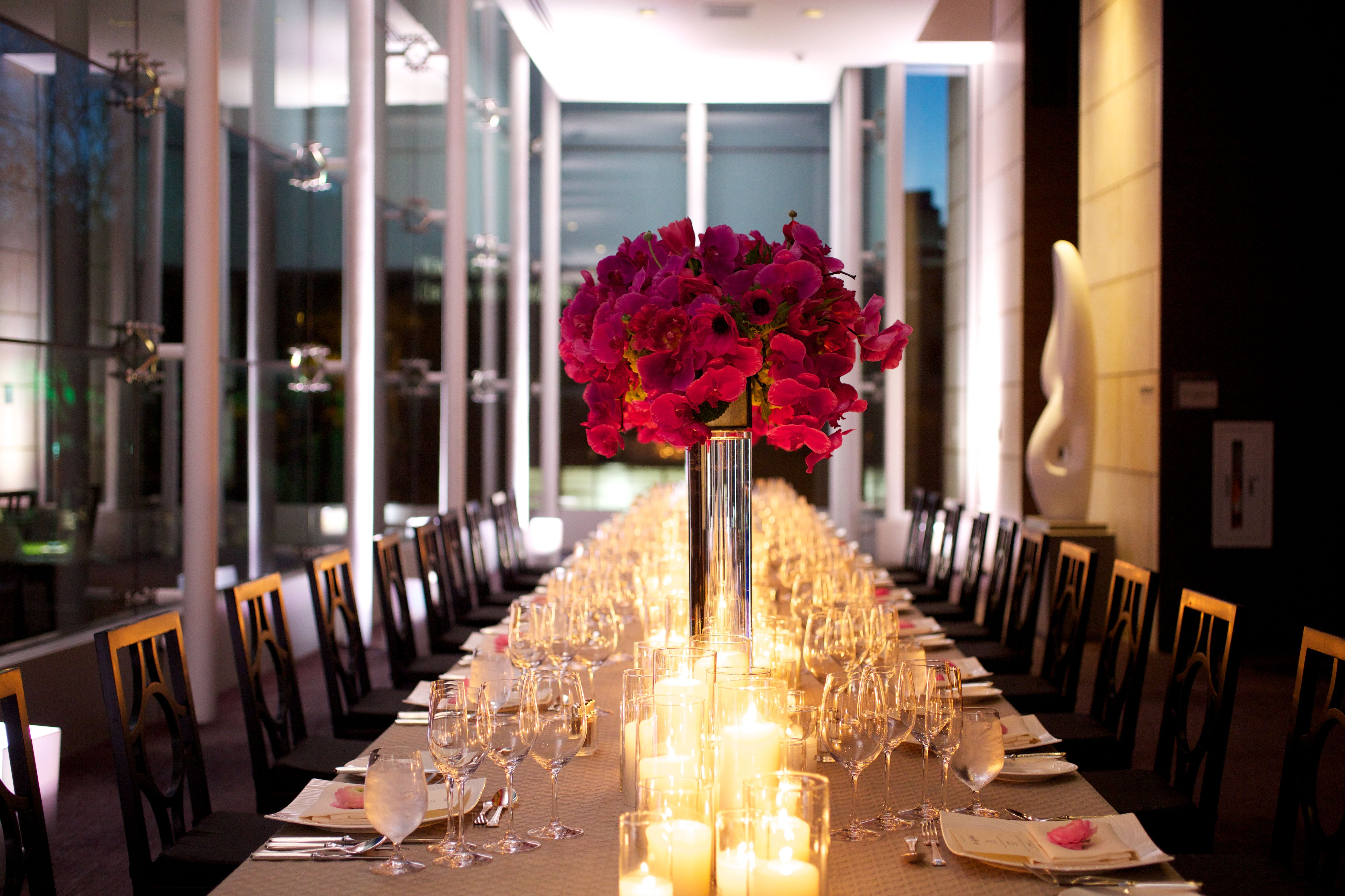 An intimate wedding reception set up in the Sculpture Event Space at The St. Regis San Francisco