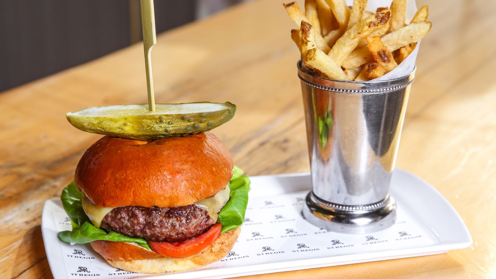 Burger and French Fries at Grill Restaurant at The St. Regis San Francisco