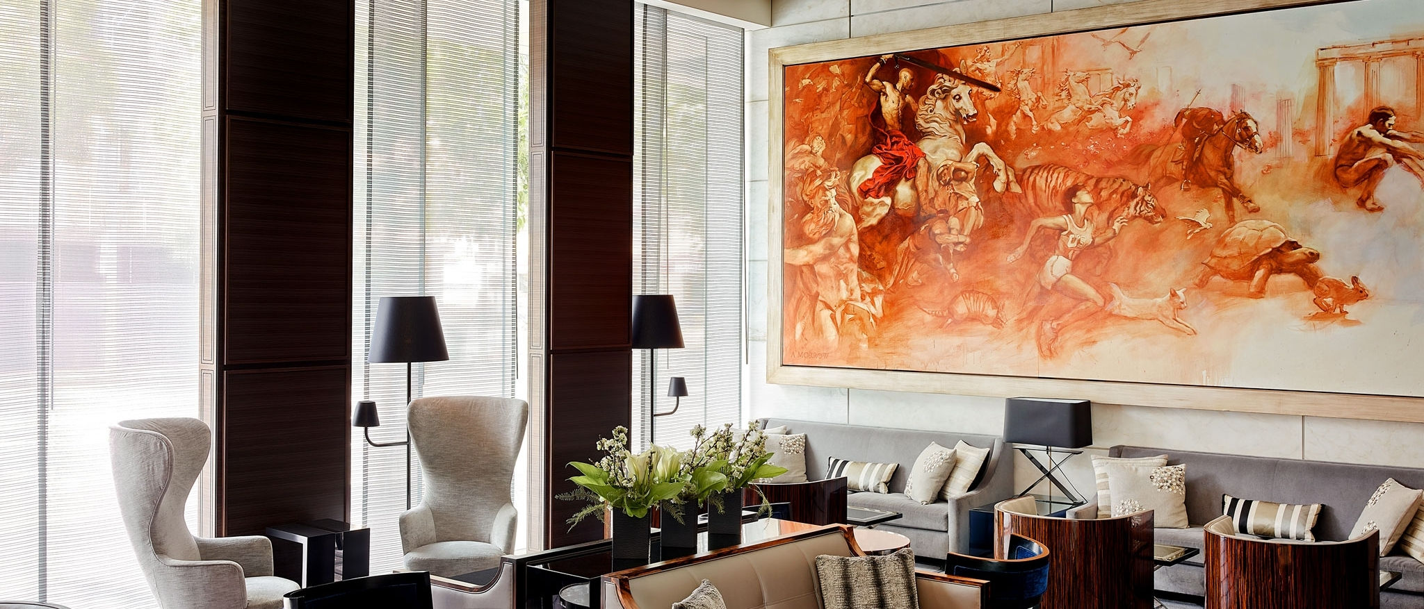 The luxurious lobby lounge, often seen on the way to the St. Regis hotel spa or pool